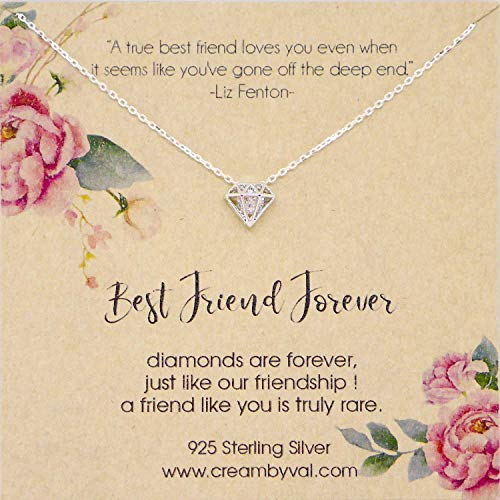 Best Friend Forever Silver Diamond Sterling Necklace 17'' Length