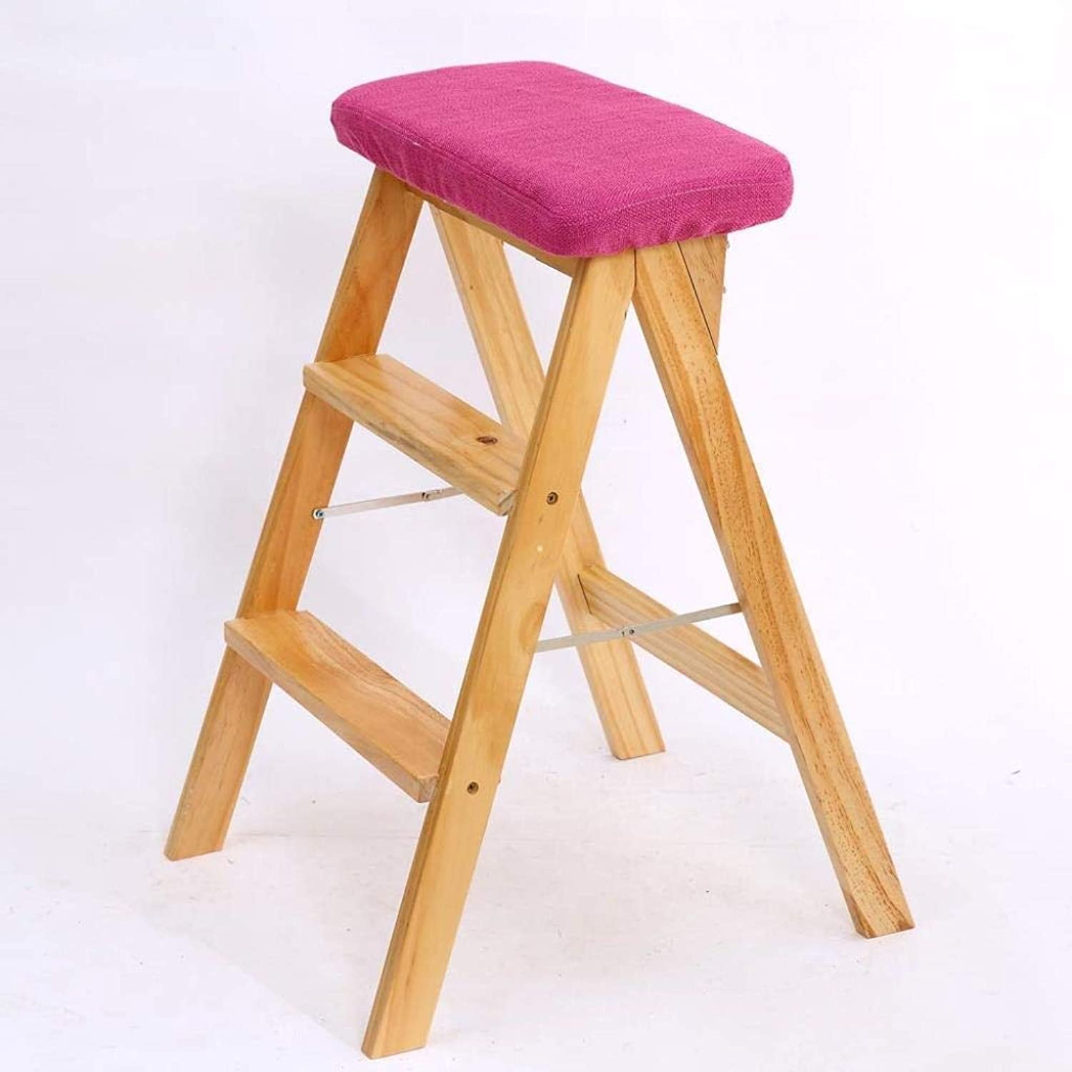 Step Stool Folding- Solid Wood Creative Folding Stool Simple Folding Step Stool Kitchen Stool Portable Stool Folding Household Bench High Stool 42x49x63cm ZXMDMZ (color   W)