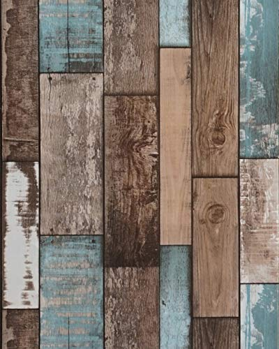 Wood Plank Wallpaper Wood Contact Paper Wood Wallpaper Stick and Peel Self Adhesive Wallpaper Removable Wallpaper Rustic Distressed Wood Con-Paper Wood Look Wallpaper Faux Vinyl Roll118''x18''