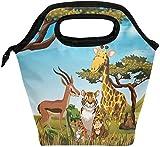 Bolsa de almuerzo Animales salvajes en el campo de la sabana Fiambrera aislada Bolsa térmica portátil Contenedor de alimentos Enfriador Reutilizable