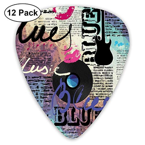 Retro Blues Musik Genre Old Record E-Gitarren Kiss Inscriptions Grunge (12er Pack)