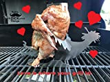 Rooster Love Beer Can Chicken Stand! Beer chicken roaster; Stainless steel Chicken roasting rack for BBQ, Grill, oven; Great Gift! Stores flat--Space Saver! Includes FREE SUNGLASSES…for the Chicken!