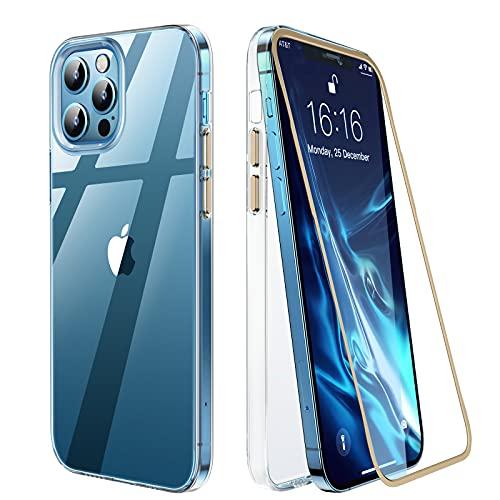 GOODVISH Crystal Clear Hülle für iPhone 12/12 Pro [360 Grad Ganzkörper Schutzhülle][Vergilbt nie] Ultra dünn Transparente Stoßfeste PC HandyHülle Schutzhülle mit Panzerglas Bildschirmschutzfolie -Gold