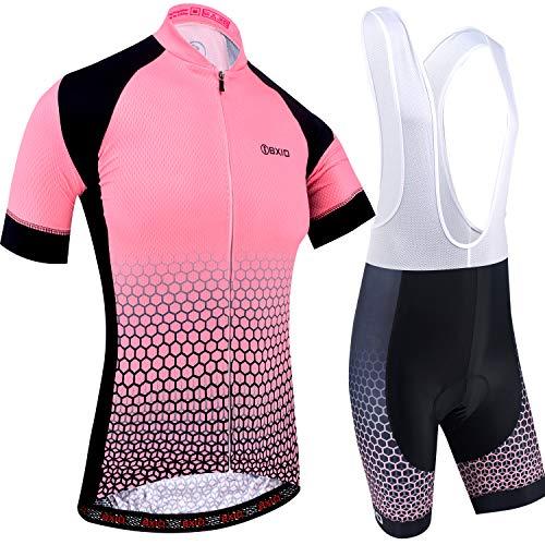 BXIO Maillot Cyclisme Femme, Maillot de Cyclisme Manches Courtes avec Cuissard à Bretelles Séchage Rapide per VTT Sports de Plein Air, Ros 199 (Rose-Bib Shorts, M)