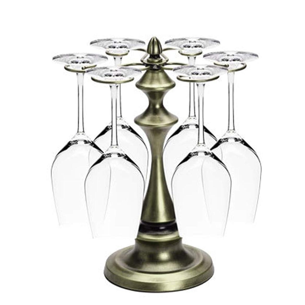 分類する肌努力するワインスタンド ワインボトルホルダー ワイングラスカップホルダーレトロタワーデザイン自立卓上メタル脚付き収納ラック6フック付き銅ブロンズシャンパンカラー (色 : ブロンズ)