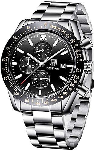 Reloj cronógrafo para hombre con correa de acero inoxidable plateado, resistente al agua, deportivo, militar, analógico, de cuarzo