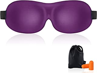 Sleep Mask for Woman & Man KAMOSSA Upgraded Contoured 3D Eye Mask Eye Cover for Sleeping, Total Darkness Sleeping Mask Free Earplugs & Carry Bag (Purple)