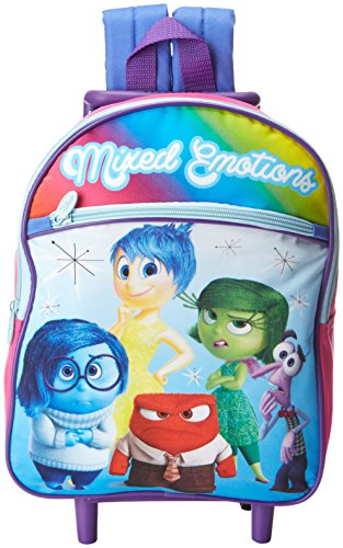 Disney Girls' Inside Out 12 Inch Rolling Backpack, Pink, One Size