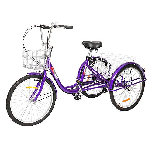 PEXMOR Adult Tricycle, 7 Speed Trike Cruise Bike with 26' Wheels, 3 Wheeled Bike with Foldable Front and Rear Basket Adjustable Height Seat for Adults Recreation, Shopping, Picnic, Exercise, Purple