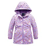 Girls Rain Jacket, Windbreaker Kids Raincoat Waterproof Zip Jacket with Fleece Liner (1102, 8)