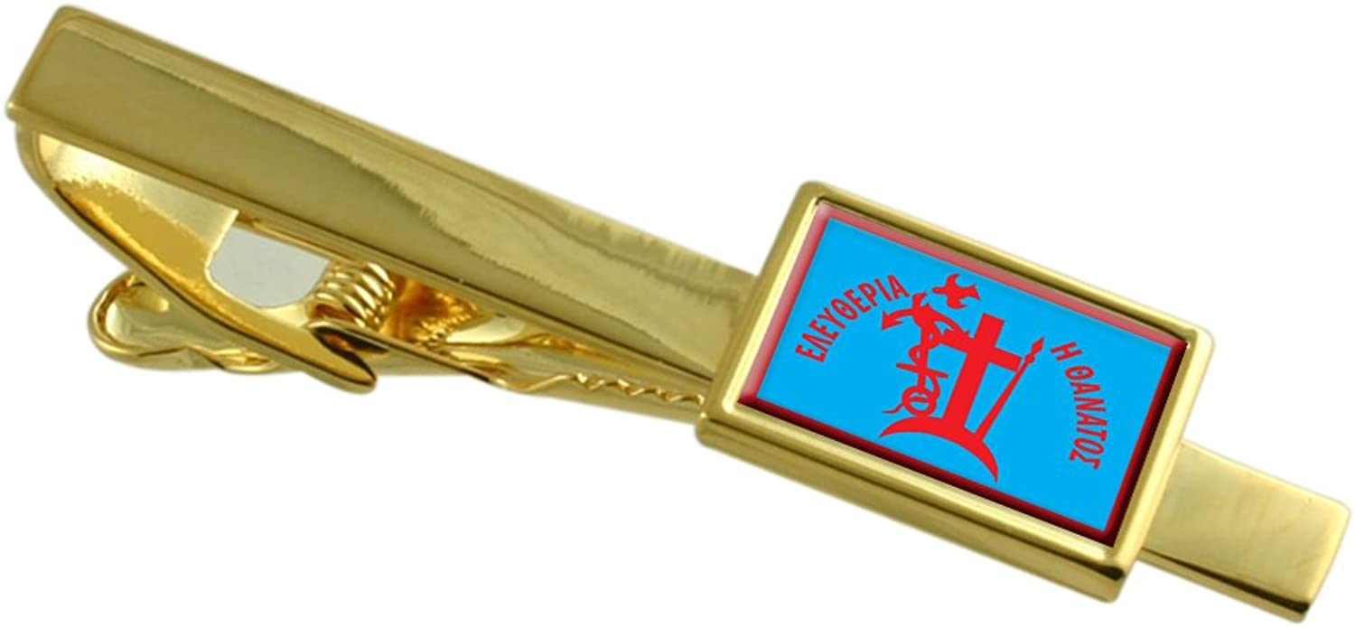 Spetses City Greece Flag gold Tie Clip