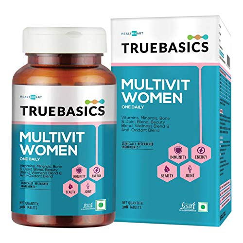 TrueBasics Multivit Women, Multivitamin for Women, With Zinc, Vitamin C, Vitamin D3 and Multiminerals, Antioxidant, Immunity and Beauty Blend, Clinically Researched Ingredients, 30 Multivitamin Tablets