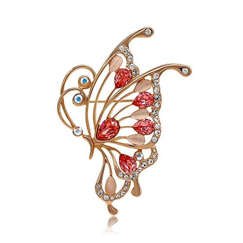 Kemstone Cubic Zirconia Cat's Eye Stone Filigree Butterfly Brooch Rose Gold Plated Animal Jewelry for Women