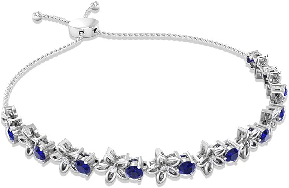 Now on sale 1.81CT Cash special price Blue Sapphire SGL Certified Bolo Bracelet Floral Diamond