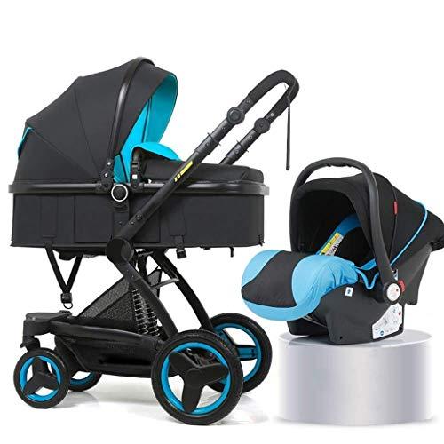QJY 2 en 1 Poussette Portable Anti-Shock ressorts pliable luxe bébé poussette réglable High View Pram Poussettes for Babys rapide Fold landau (Color : Blue)