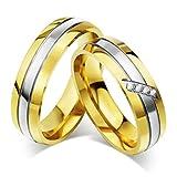 Xiangling joyería Acero Inoxidable Plata y Oro Tono Boda Anillo Conjuntos Hombres y Mujeres (Precio para 1pc Solamente)