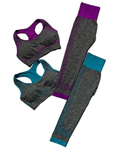 aimilian Women's 2 Pieces Fitness / Yoga Workout Sports Bra Pants Leggings Set (2 Set/4 Pieces),purple/Blue,34D 36C 36D 38A 38B 40A