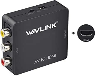 Wavlink Mini AV to HDMI, RCA Composite CVSB AV to HDMI Video Audio Converter Adapter Up Scaler 1080P, Supports PAL, NTSC,S...