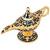 Hongzer Oil Lamp, Vintage Metal Aladdin's Genie Lamp Carved Legend Wishing Oil Lamp Retro Furnishing Article Decoration for Teapot, Toothpick Box(Sapphire Blue)