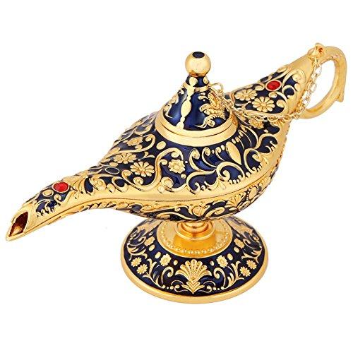 Hongzer Lámpara de Aceite, lámpara Genie de Aladdin de Metal Vintage Leyenda Tallada Deseando Lámpara de Aceite Decoración de artículos de decoración Retro para Tetera, palillo (Azul Zafiro)