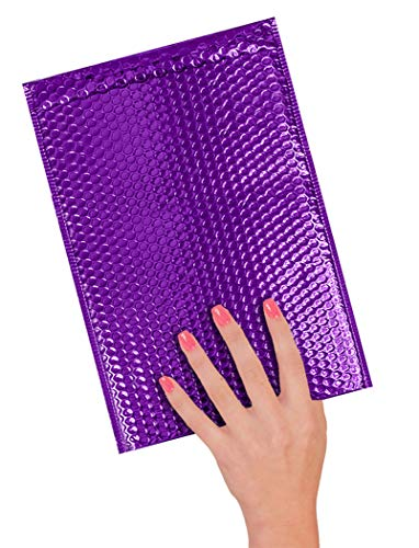 ABC 10 Pack Metallic Bubble mailers 6.5 x 10.5 DVD size. Purple padded envelopes 6 1/2 x 10 1/2. Glamour bubble mailers Peel and Seal. Padded mailing envelopes for shipping, packing, packaging Photo #4