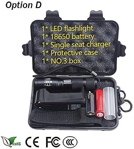 Option D, T6   lampe de poche LED 5000 luPour des hommes XM-L2 zoomable 5 modes en aluminium Lanterne LED pour le camping