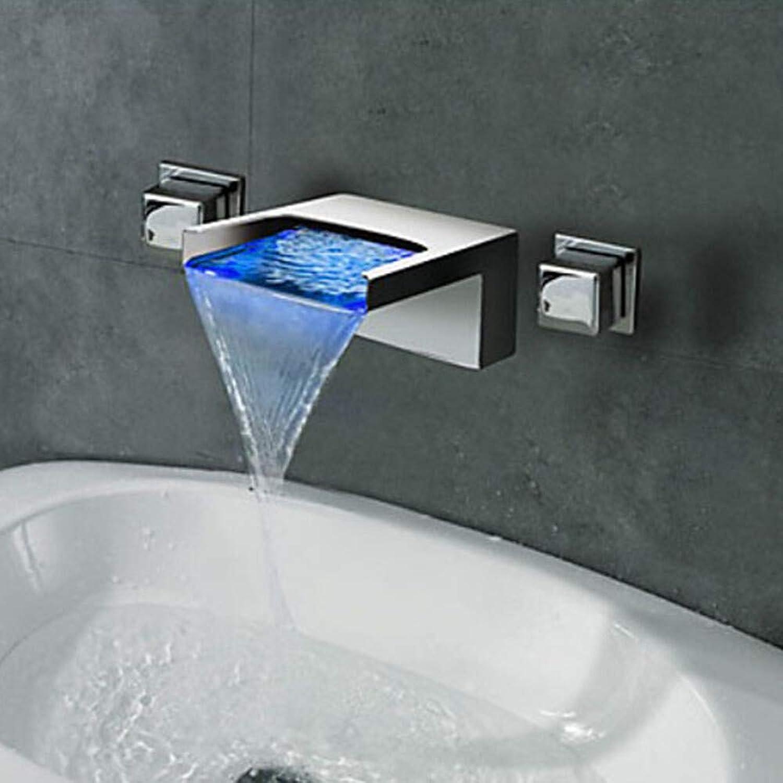 Novopus Bathroom faucet:Contemporary Art Deco Retro Modern Wall Mounted Waterfall LED Ceramic Valve Two Handles Three Holes Chrome, Bathroom Sink Faucet,1