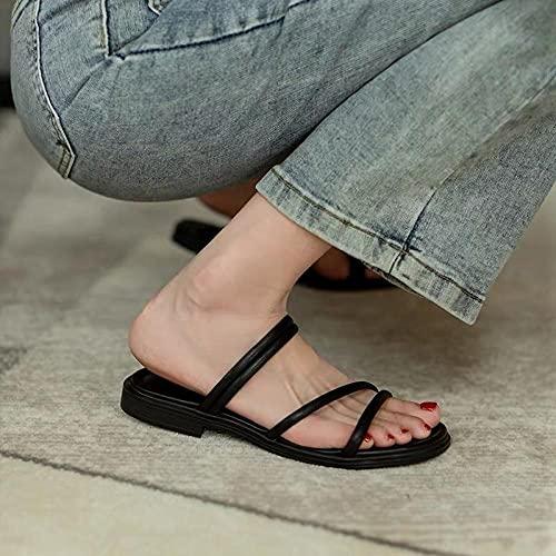 ypyrhh Verano de Las Mujeres Casual Chanclas,Zapatillas de Fondo Suave de Piso Inferior,Sandalias de Mujer de Stand Externo-Negro_37,Sandalias con Plataforma Plana Hombre