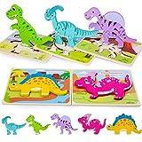 Rolimate Rompecabezas de Madera para niños, Rompecabezas de Dinosaurios en 3D...