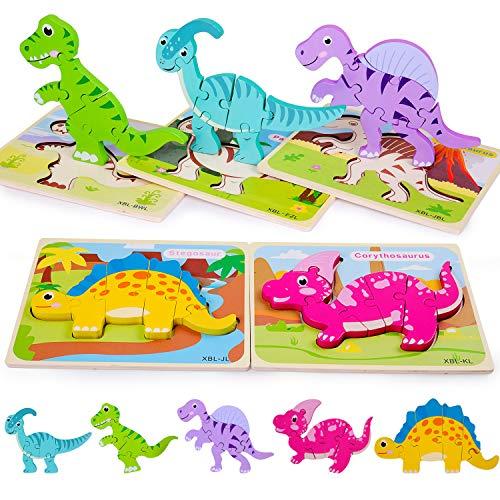 Rolimate Rompecabezas de Madera para niños, Rompecabezas de Dinosaurios en 3D Colores y Formas Cognición Juguetes educativos preescolares niños de 3 4 5 6 años (5 PCS)