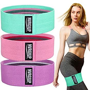 NVRGIUP Exercise Resistance Bands for Legs and Butt Upgrade Thicken Anti-Slip & Roll Home Gym Workout Booty Bands Wide Fabric Loop Thigh Glute Bands Set for Women with Ebook & Video