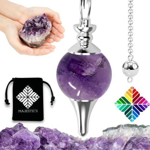 Péndulo divinatorio de radiestesia en amatista – Péndulo Sephoroton de piedra de amatista natural – 14 gr [Satisfacto o acolchado]
