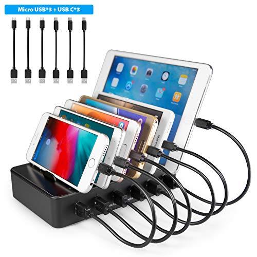 TechDot Handy USB Ladestation Ladestation Mehrere Geräte 6 Port USB Multi Ladestation für Handys Smartphones Tablets (mit 3 Micro USB Kabel und 3 USB C Kabel, Schwarz)