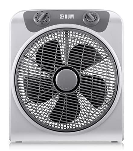 HJM VB30 Box-fan Ventilador potente y silencioso, 45 W, Plástico, 3 Velocidades, Blanco