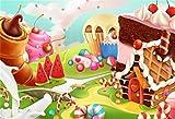 AOFOTO 7x5ft Fantasy Candy Land Landscape Background Cartoon Ice Cream Dessert Lollipop Photography Backdrop Cake House Birthday Party Decoration Banner Photo Studio Props Kid Girl Vinyl Wallpaper