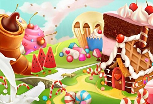 AOFOTO 5x3ft Fantasy Candy Land Landscape Background Cartoon Ice Cream Dessert Lollipop Photography Backdrop Cake House Birthday Party Decoration Banner Photo Studio Props Kid Girl Vinyl Wallpaper