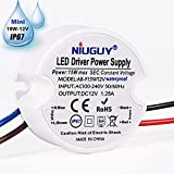 DC12V LED Drive Power Supply-Waterproof IP67, 120VAC to 12V DC 1.25A, NiuGuy 15W Small Transformer - for LED Strips,G4 MR11 MR16, LED Display, Junction Box, Security Cameras