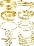 8 Pezzi Braccio Polsino d'Oro Braccio Superiore Banda Bracciale a Spirale Banda Bracciale Braccio Regolabile per Donne