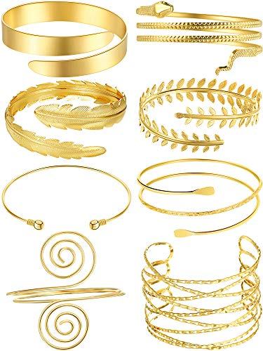 8 Pieces Gold Arm Cuff Upper Arm Band Spiral Arm Band Adjustable Arm Bangle for Women