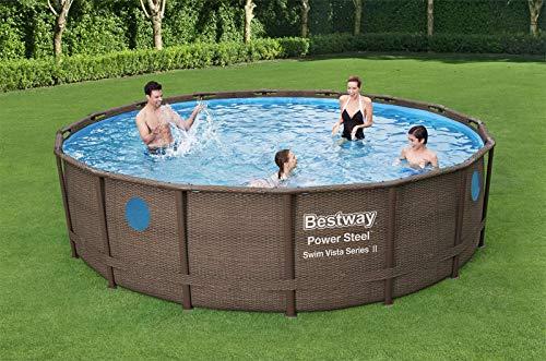 BestWay - Set da piscina Power Steel con telaio in acciaio rotondo in rattan, con stampa 40 x 121,9 cm, con filtro, pompa scaletta e copertura