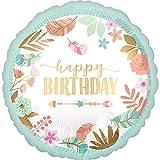 WOOOOZY Folienballon Happy Birthday / Geburtstag / Herzlichen Glückwunsch Blumen, ca. 43cm