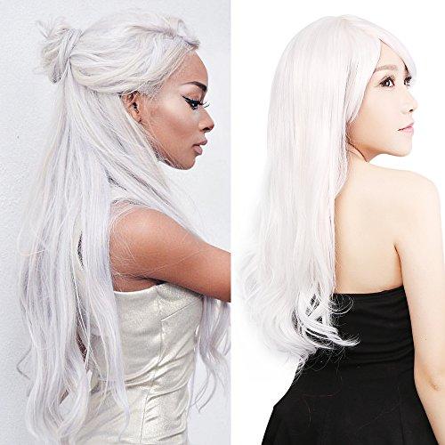 "Neitsi 100% Kanekalon Fiber 22""-24""(55-60cm) 225g/pc Women's Girl's Cosplay Long Synthetic BOB Hair Wigs Halloween Party (White)"