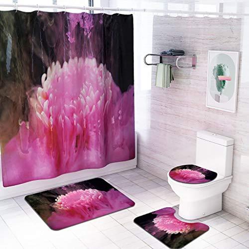 TWGDH 4PCS Antiderapant Toilettes Polyester Couverture Mat Set de Bain Rideau de Douche 24 mai # ( Color : A , Specification : 4pcs )