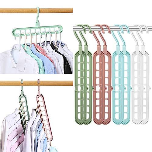 Magic Space Saving Clothes Hangers Multifunctional Smart Closet Organizer Premium Wardrobe Clothing Cascading Hanger 9 slots, Innovative Design for Heavy Clothes, Shirts Pants Dresses Coats(8 Pack)