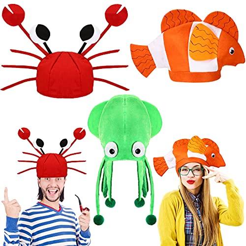 Kasyat 3 Sombreros Divertidos de Novedad de Fiesta de Baile, Sombrero de Pez Payaso Calamar Cangrejo Gorro de Animales Marinos de Océano, Sombreros de Accesorios de Vestuario Cosplay, 3 Estilos