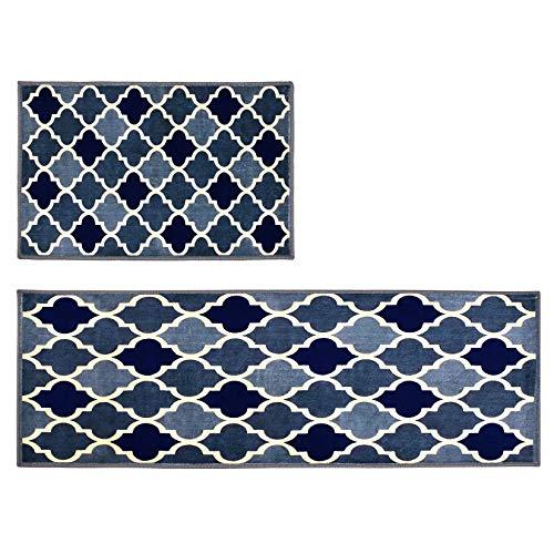 Weichuang 2 Stück Küchenteppiche, Waschbarer Küchenmatte, rutschfeste Küchenläufer, Staubdicht Teppiche und Läufer Set, Schön Teppichläufer für Küchen 40x60+40x120cm