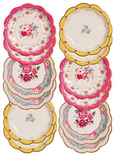 Talking Tables Lot de 12 Assiettes Jetables Tea Party Vintage en Papier Floral (17 cm) | Assiettes de Fête Truly Scrumptious | Anniversaire Mariage Baby Shower Anniversaire de Mariage