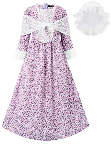 Girls Pioneer Dress for Colonial Day Halloween Dress Up Costumes Purple Size 12Y