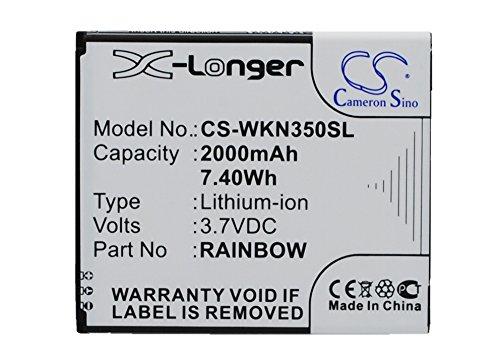CS-WKN350SL Akku 2000mAh Kompatibel mit [WIKO] Bloom, M172, N350, Rainbow, Rainbow Neongelb Ersetzt Rainbow