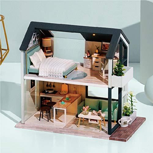 AMZYY Casa de Muñecas con Kits de Manualidades de Muebles para Adultos, Artesanía Realista de La Habitación de La Casa de Madera Mini 3D,3